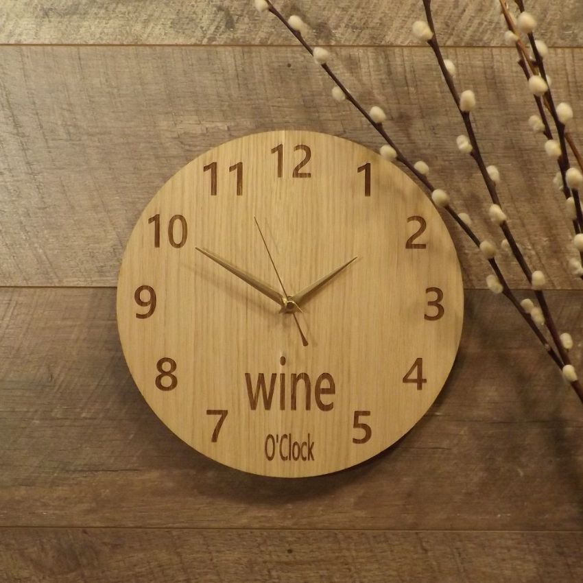 Wine O'Clock Wooden Wall Clock for Wine Lovers (G1)